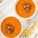 Крем-суп из помидоров и белой фасоли