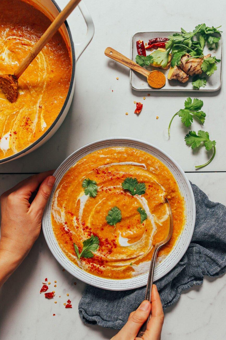 Крем-суп из цветной капусты и чечевицы